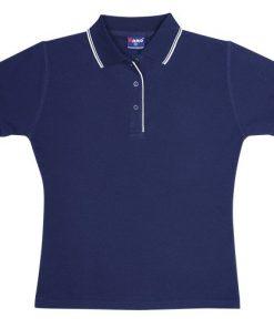Women's Double Strip Polo - 14, Navy/White