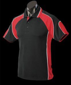 Men's Murray Polo - L, Black/Red/White