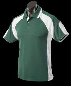 Men's Murray Polo - S, Bottle Green/White/Ashe
