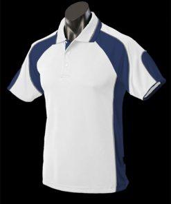 Men's Murray Polo - L, White/Navy/Ashe