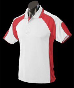 Men's Murray Polo - S, White/Red/Ashe