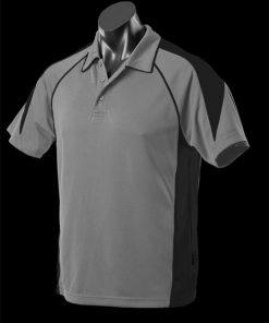 Men's Premier Polo - 5XL, Ashe/Black