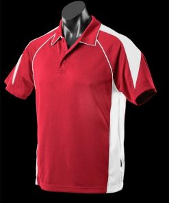 Men's Premier Polo - XL, Red/White