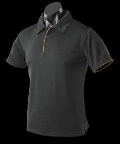 Men's Yarra Polo - S, Black/Gold