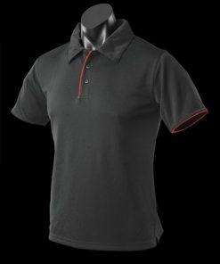 Men's Yarra Polo - L, Black/Red