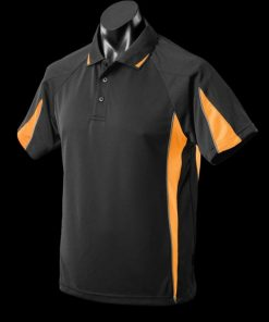 Men's Eureka Polo - M, Black/Gold/Ashe
