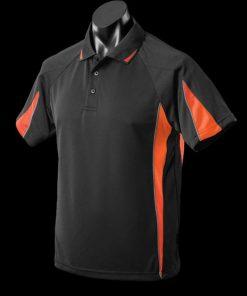 Men's Eureka Polo - M, Black/Orange/Ashe