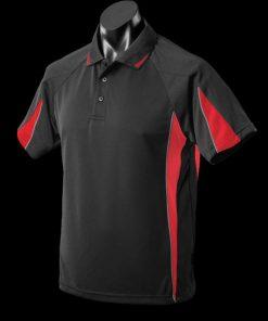 Men's Eureka Polo - M, Black/Red/Ashe