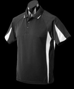 Men's Eureka Polo - L, Black/White/Ashe