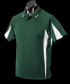 Men's Eureka Polo - L, Bottle Green/White/Ashe