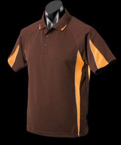 Men's Eureka Polo - XL, Chocolate/Gold/White
