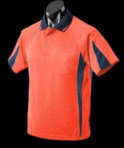 Women's Eureka Polo - 12, Hi Viz Orange/Navy/Silver