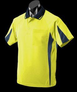 Men's Eureka Polo - 3XL, Hi Viz Yellow/Navy/Silver