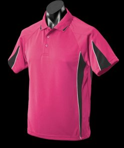 Men's Eureka Polo - 3XL, Hot Pink/Black/White
