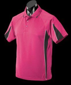 Men's Eureka Polo - L, Hot Pink/Black/White