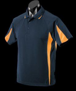 Men's Eureka Polo - L, Navy/Gold/Ashe