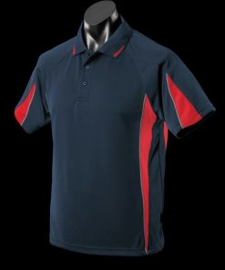 Men's Eureka Polo - L, Navy/Red/Ashe