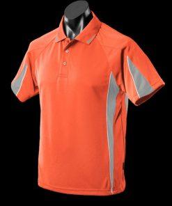 Men's Eureka Polo - L, Orange/Charcoal/White