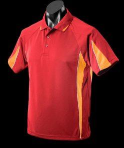 Men's Eureka Polo - S, Red/Gold/White