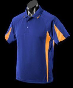 Men's Eureka Polo - L, Royal/Gold/Ashe