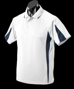 Men's Eureka Polo - L, White/Navy/Ashe