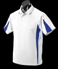 Men's Eureka Polo - L, White/Royal/Ashe