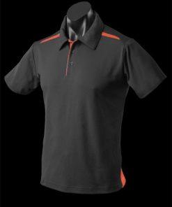 Men's Paterson Polo - M, Black/Orange