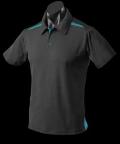 Men's Paterson Polo - 3XL, Black/Teal