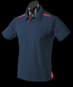 Men's Paterson Polo - L, Navy/Red