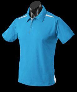 Men's Paterson Polo - S, Pacific Blue/White