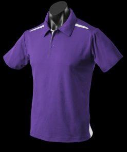 Men's Paterson Polo - L, Purple/White
