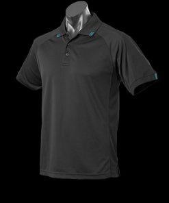 Men's Flinders Polo - 2XL, Black/Teal