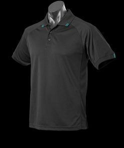Men's Flinders Polo - 3XL, Black/Teal