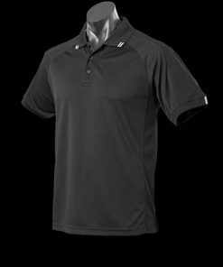 Men's Flinders Polo - L, Black/White