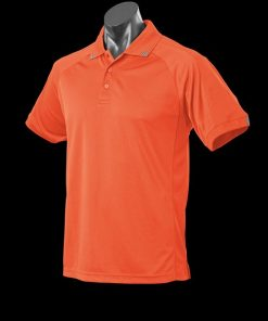 Men's Flinders Polo - L, Orange/Slate