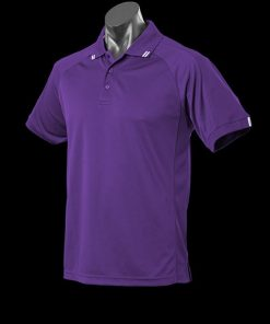 Men's Flinders Polo - L, Purple/White