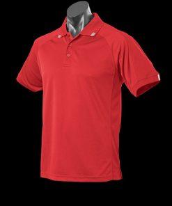 Men's Flinders Polo - S, Red/White