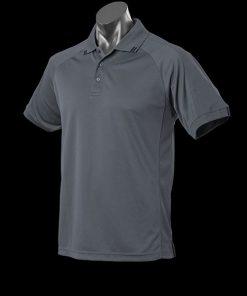 Men's Flinders Polo - L, Slate/Black