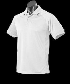 Men's Flinders Polo - 5XL, White/Black