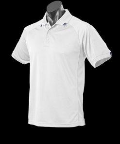 Men's Flinders Polo - L, White/Navy