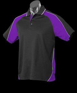 Men's Panorama Polo - L, Black/Purple/White