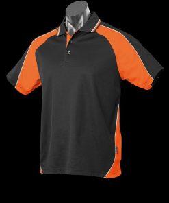 Men's Panorama Polo - S, Black/Orange/White