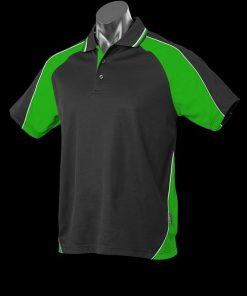 Men's Panorama Polo - L, Black/Kawa Green/White