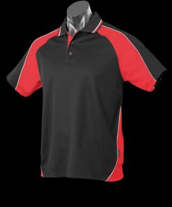 Men's Panorama Polo - L, Black/Red/Gold
