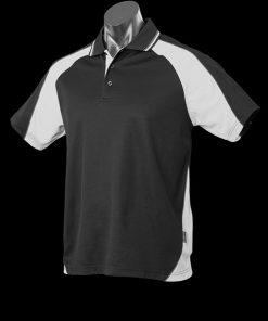 Men's Panorama Polo - L, Black/White/Ashe