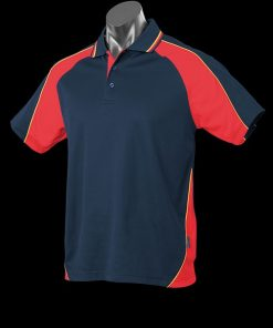 Men's Panorama Polo - L, Navy/Red/Gold