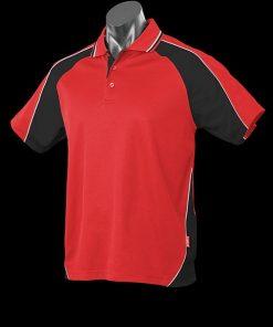 Men's Panorama Polo - L, Red/Black/White