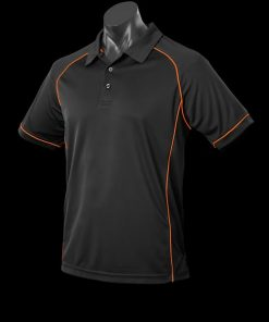 Men's Endeavour Polo - 2XL, Black/Fluro Orange