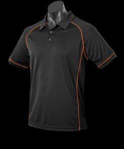 Men's Endeavour Polo - M, Black/Fluro Orange