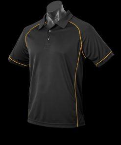 Men's Endeavour Polo - M, Black/Gold